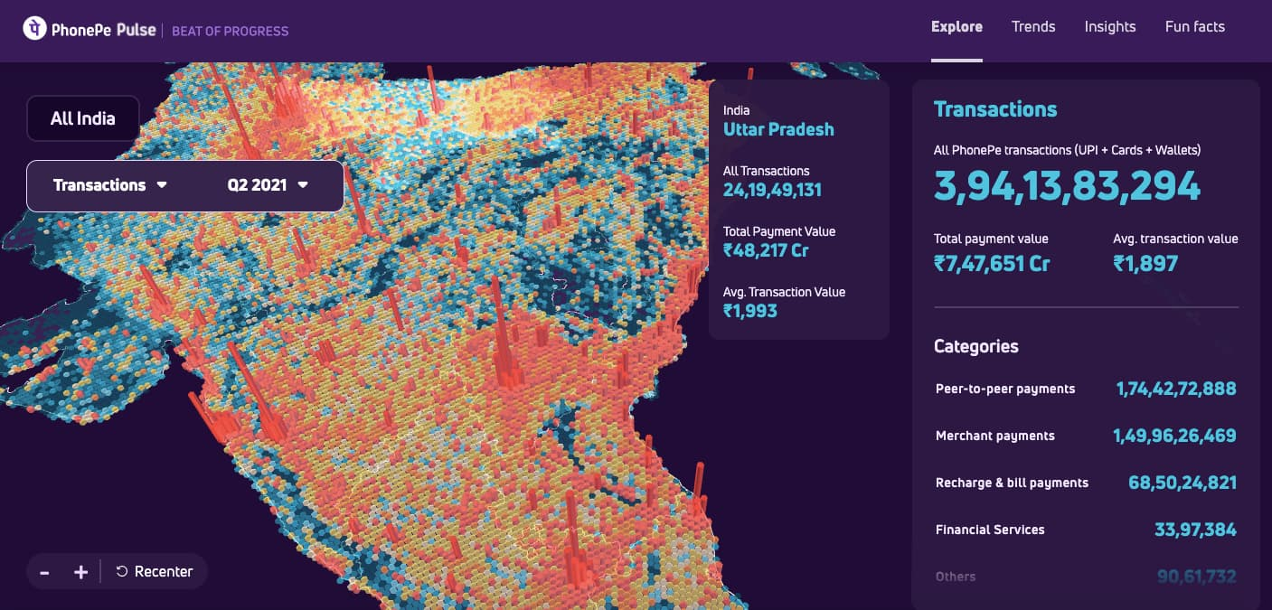 決済データを3Dで可視化するPulse. Image by PhonePe Pulse.