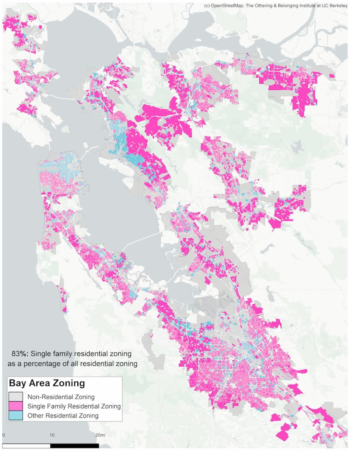 サンフランシスコ・ベイエリアのゾーニングのマッピング。ほとんどが一戸建て区画。住宅需要が高い地域にも関わらず、新規住宅の追加を認めない区画が策定されている。Source: Othering & Belonging Institute, UCLA